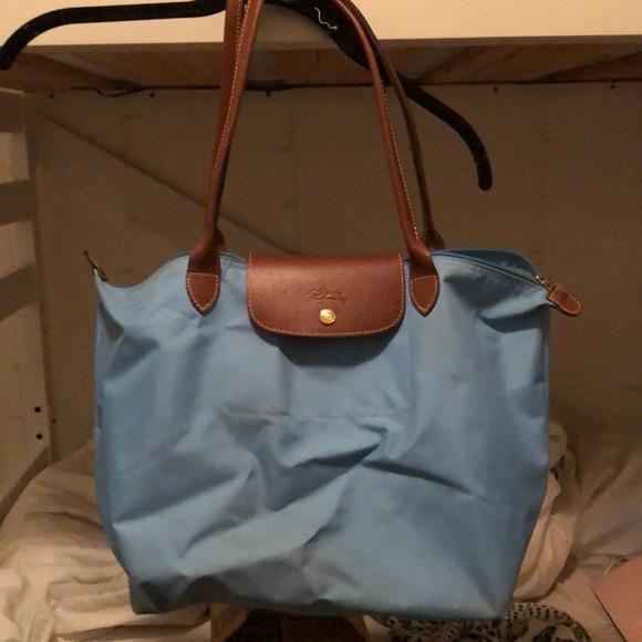 Longchamp Bags   Blue Le Pliage Tote Bag Size L   Poshmark 1a78f1b874